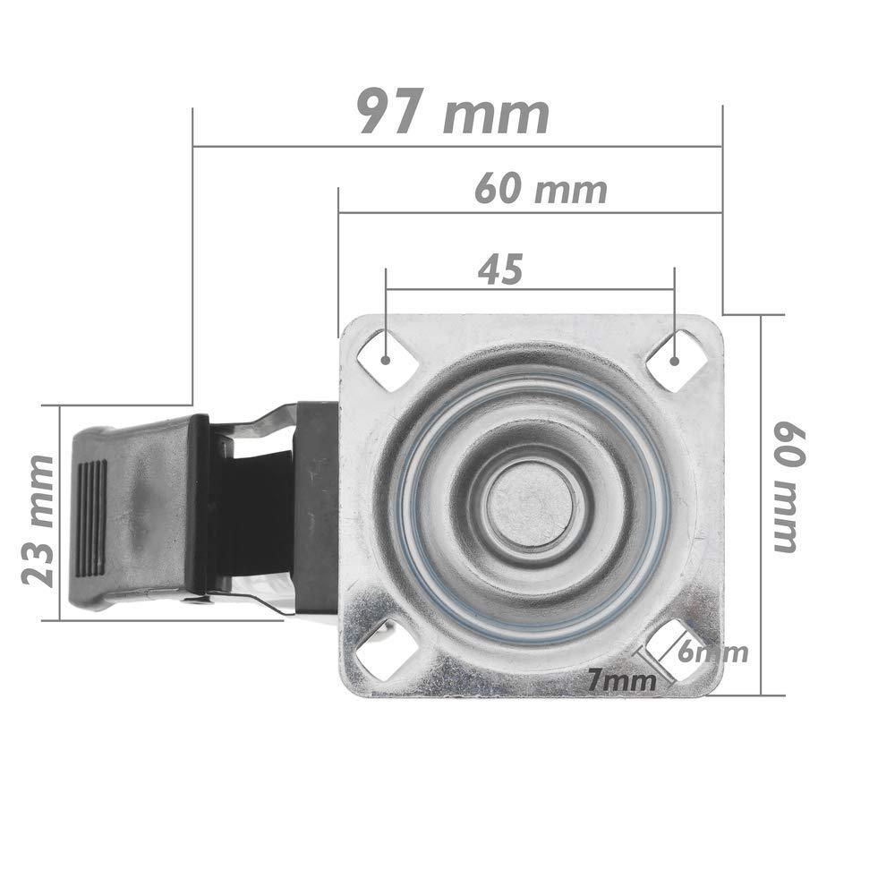 PrimeMatik Lenkrollen Schwenkrollen Industriell Rad aus Polyurethan und PVC transparent mit Bremse 75mm 4-Pack