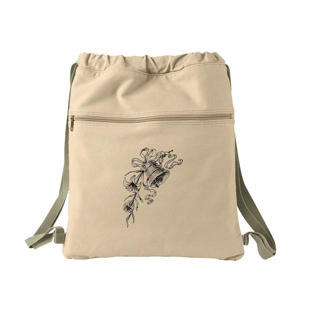 Wedding Bell Holiday Image Canvas Dyed Sack Backpack Bag