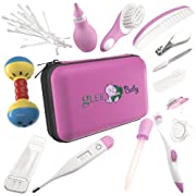 Baby Grooming Kit | Baby Care New Born Healthcare Kits | Nursery Essentials Set for Babies Best Baby Shower and Registry Gifts | Includes Nail Clipper Infant Hair Brush Comb Thermometer | Girl (Pink)