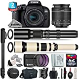Canon EOS Rebel 800D / T7i Camera + 18-55mm IS STM Lens + 650-1300mm Telephoto Lens + 500mm f/8.0 Telephoto Lens + 2yr Extended Warranty + 32GB Class 10 Memory Card - International Version