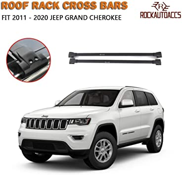 Black Roof Rack Cross Bar Cargo Carrier for 2011 2012 2013 2014 2015 2016 2017 2018 Jeep Grand Cherokee with Chrome Side Rail