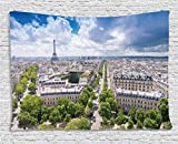 Ambesonne European Tapestry, Aerial Paris Eiffel Tower French Heritage Culture Architecture Image, Wall Hanging for Bedroom Living Room Dorm, 60 W X 40 L Inches, Light Blue Cream Green