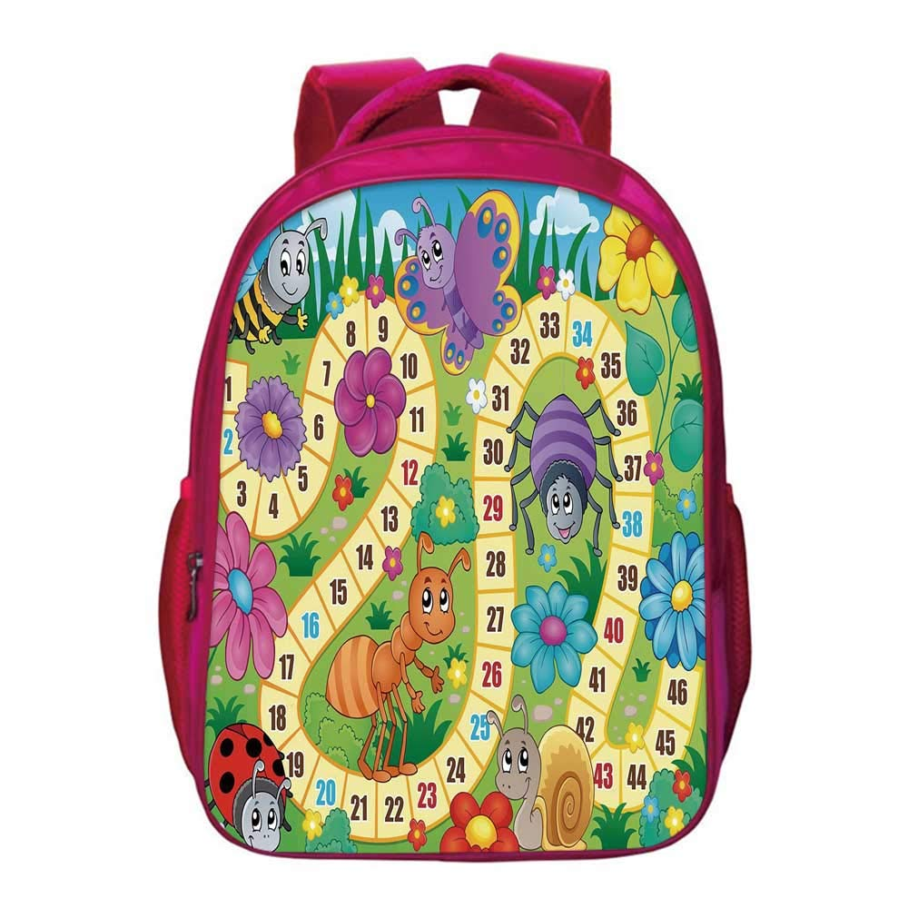 Board Game Printing Backpack,Various Kinds of Animals Bee Butterfly Ant Ladybug Kids Theme Spring Meadow Decorative for Kids Girls,11.8''Lx6.3''Wx15.7''H by YOLIYANA