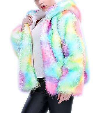c069213f3b6e Women s Shaggy Fake Fur Short Full Sleeve Warm Thicken Coat Rainbow ...