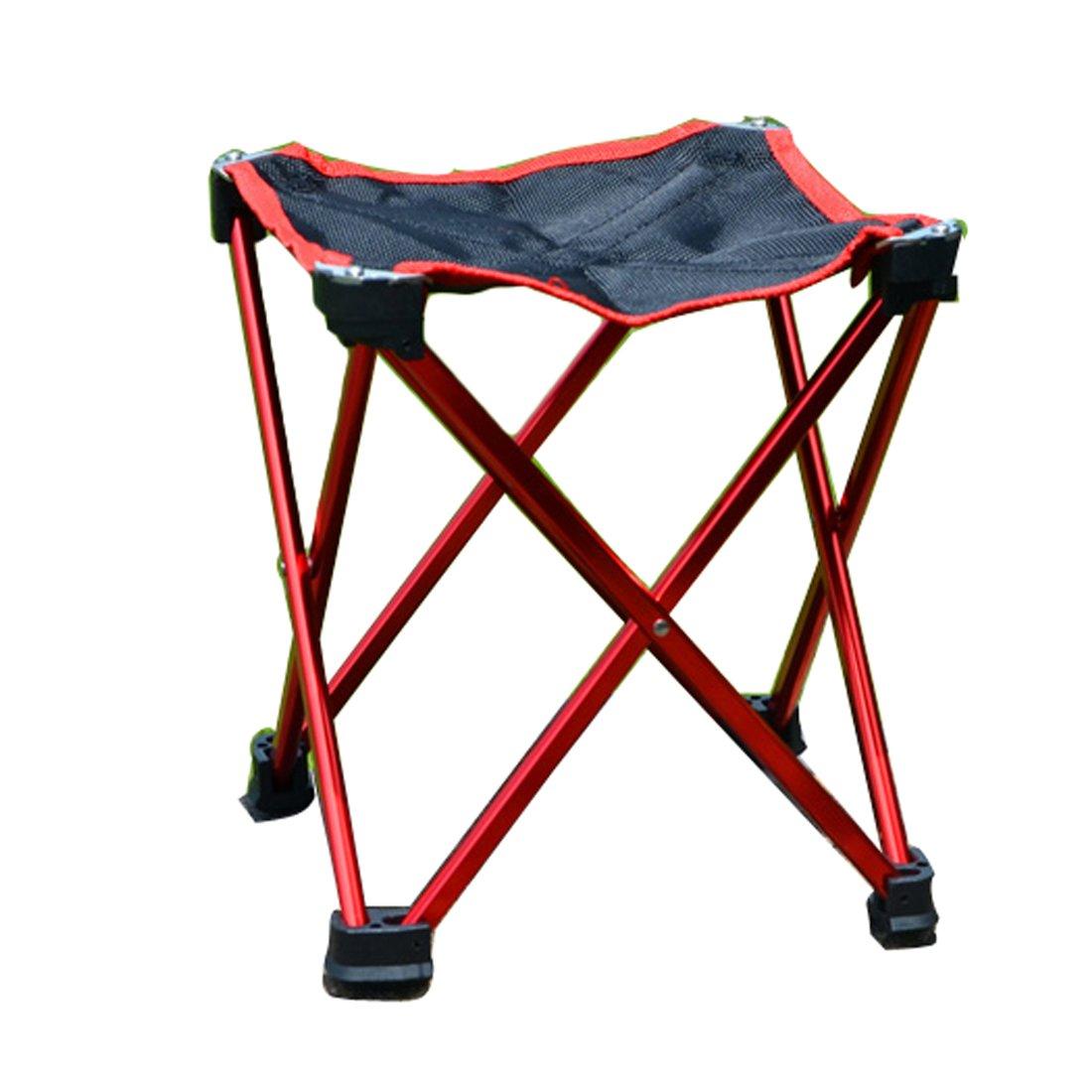 Hi Suyi超軽量ポータブル折りたたみキャンプ椅子スツールforビーチガーデンピクニックアウトドアキャンプ旅行、アルミニウム合金フレーム、anti-tearのオックスフォード布カバー滑り止め足、キャリアバッグ B073XLDQKM  レッド