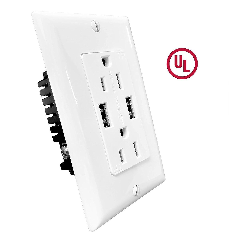15A Duplex Outlets Tamper Ressistant 2USB 3.6A w//regular wallplates USB15W 1 pc. KlimPlumbing