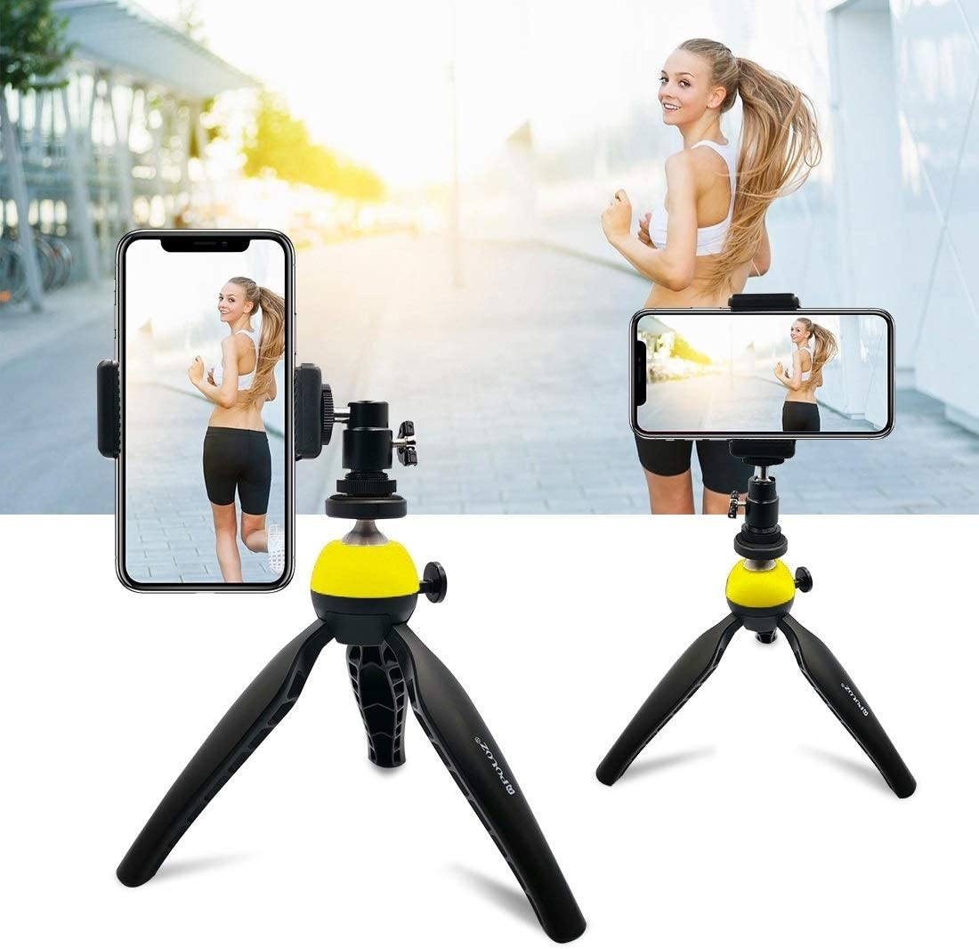 DSLR Cameras GoPro Blue JIN Tripods Pocket Mini Tripod Mount with 360 Degree Ball Head for Smartphones Color : Yellow