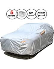 "SEAZEN Car Cover Waterproof All Weather,Full car Covers UV Protection/Snowproof/Dustproof,Universal car Cover 5 Layer Breathable Fabric with Cotton(193"" L x 76"" W x 59"" H, SUV)"