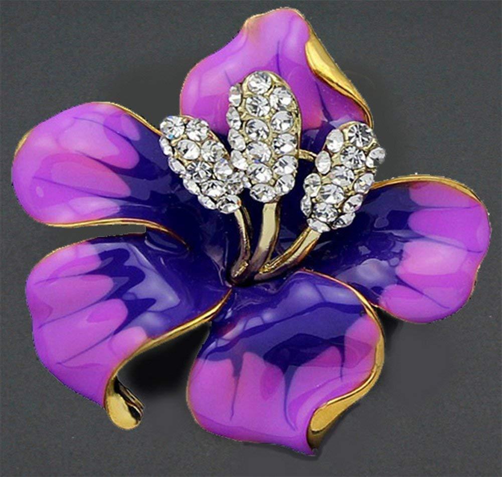 TLZR Femmes Bijoux /Él/égant /Émail Strass Fleur De Lys Bouquet De Mariage De Mari/ée Broches Pins Foulards Broche Collier Clip Pink