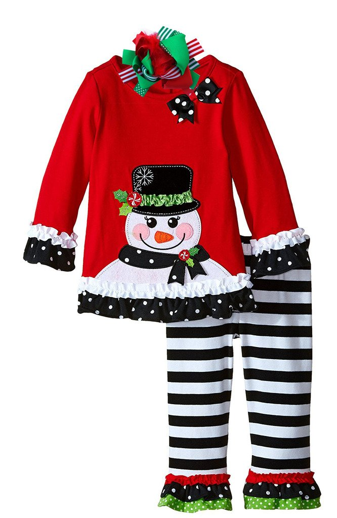 Boutique Clothing Girls Christmas Outfit Snowman Clothing Set 6X Bow