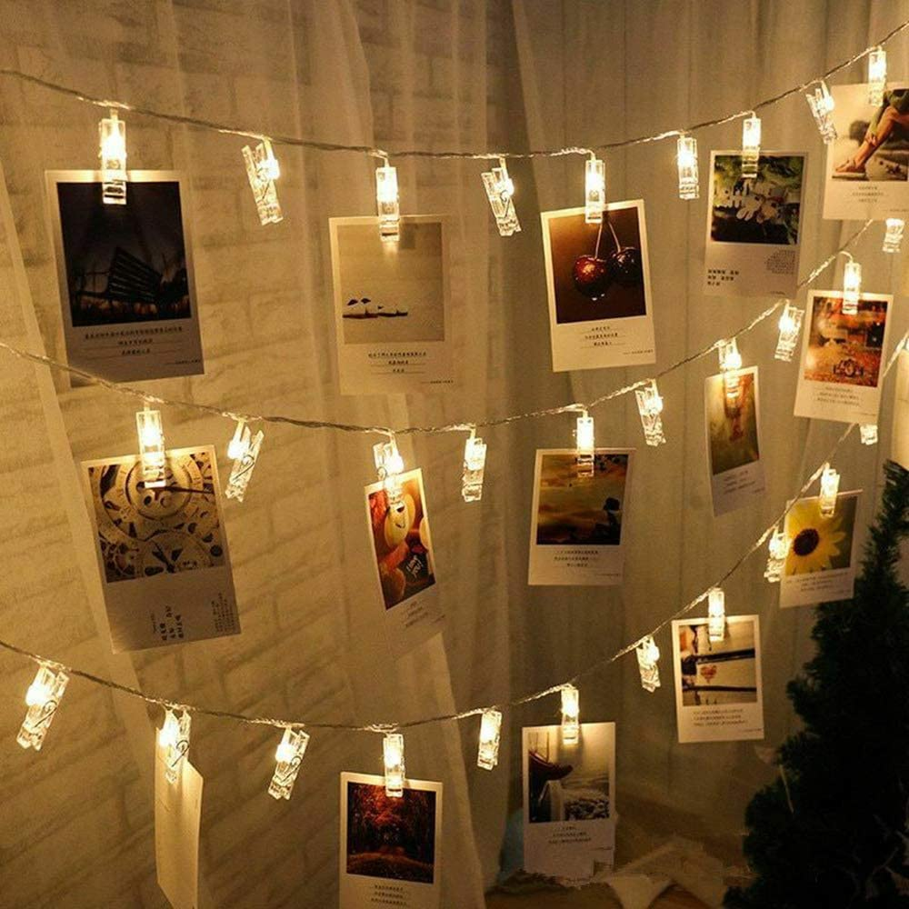 Lwind Photo Clip String Lights, 40 Clip LED Warm-White Fairy Twinkle Lights Powered by 3 AA Batteries for Hanging Photos, Cards and Light Artwork, ect