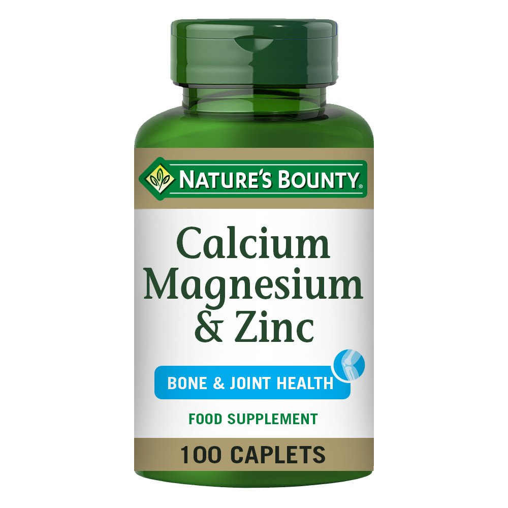 Nature's Bounty Calcium, Magnesium and Zinc Coated Caplets - Pack of 100