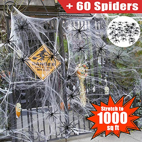 Halloween Decoration Clearance 1000 Sqft Halloween Stretch Spider Web Outdoor with 60 Fake Spiders, Large Cobwebs Decorations Outdoor Scary Indoor Outside Window Door Halloween Party Favors Supplies