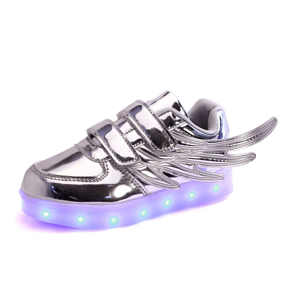 DuLong Youths Boys Girls USB Charging LED Light Up Fashion Wing Sneakers