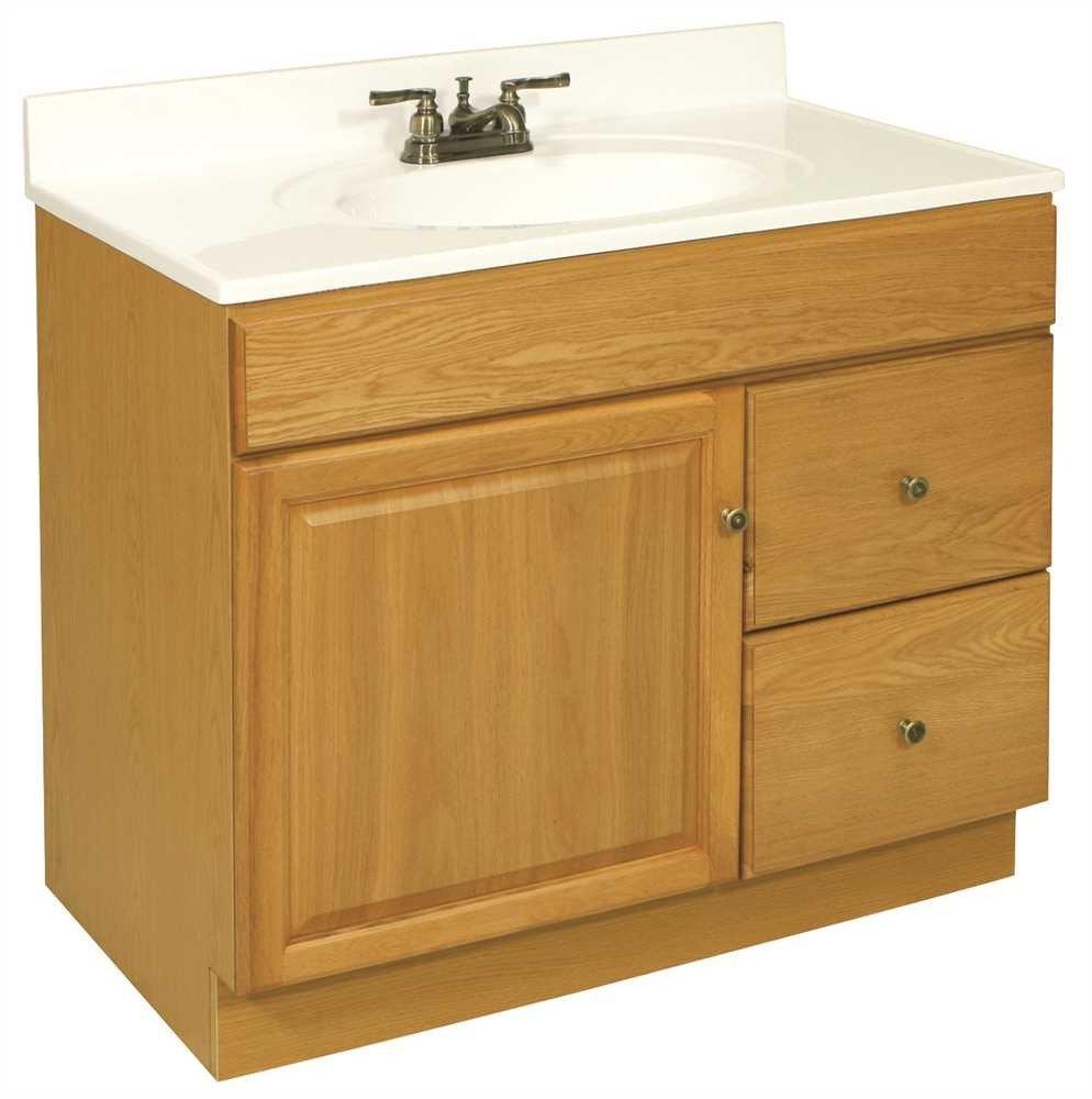 DESIGN HOUSE 103510 Claremont Bathroom Vanity Cabinet, Ready to Assemble, 1 Door, 2 Drawer, Honey Oak, 36 x 31-1/2 x 21-1/2''