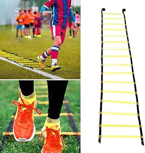 Balapig Escalera de Entrenamiento de Fútbol, Escalera de Agilidad Salto Ajustable Cuerda Peldaños para Entrenamiento de Fútbol, Velocidad, Fútbol, Fitness, Pies,9m/29.5ft: Amazon.es: Deportes y aire libre