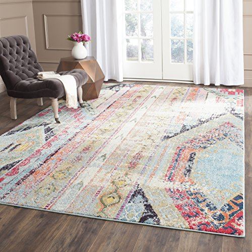Safavieh Monaco Collection MNC222F Modern Bohemian Erased Weave Multicolored Area Rug (6'7
