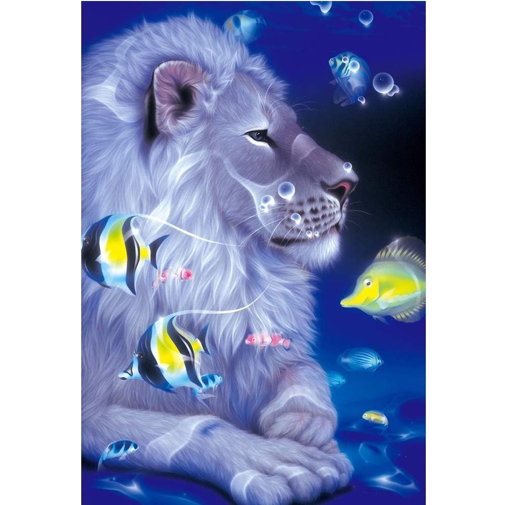 5D Kit completo de pintura de diamante de león, hecho a mano con diamantes de imitación bordados de punto de cruz Set Mosaico decoración de la habitación ...