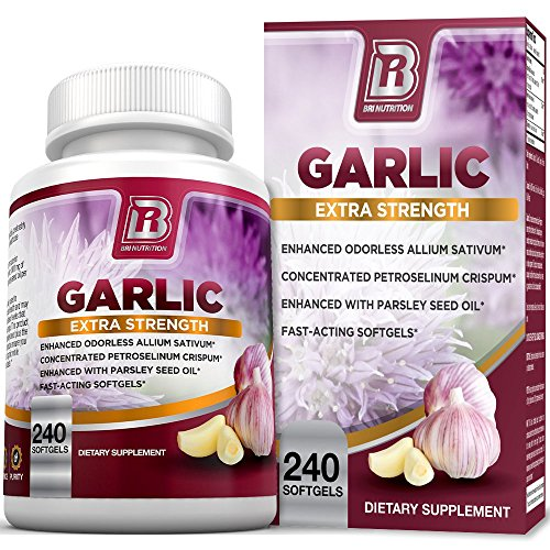 BRI Nutrition Odorless Garlic – 240 Softgels – 1000mg Pure and Potent Garlic Allium Sativum Supplement (Maximum Strength) – 120 Day Supply
