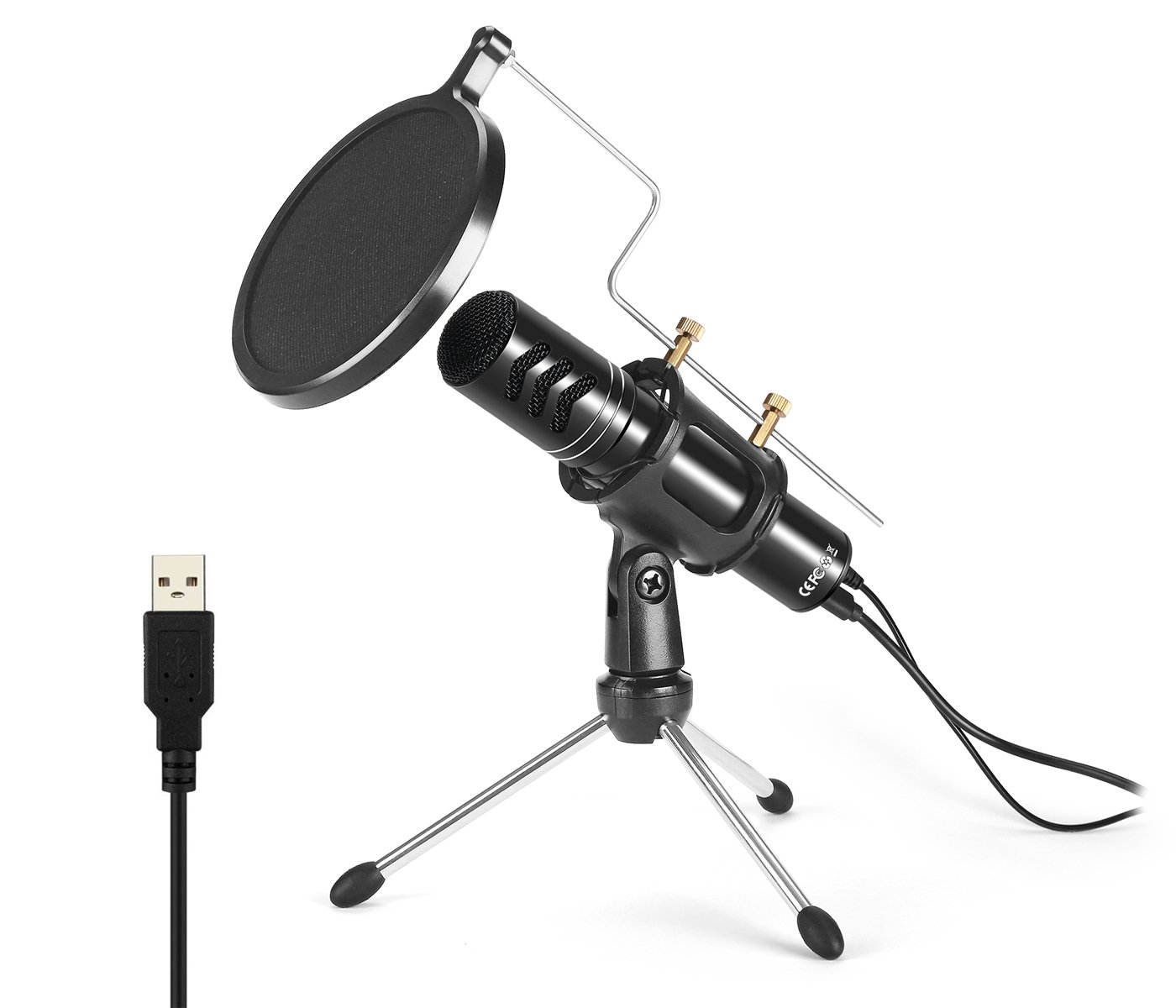 Aokeo USB Computer Professional Condenser Studio Microphone Plug & Play with Tripod Stand & Dual Layered Pop Filter for Chat/Skype/YouTube/Recording/Gaming/Podcasting/Streaming/Recording for PC, iMAC
