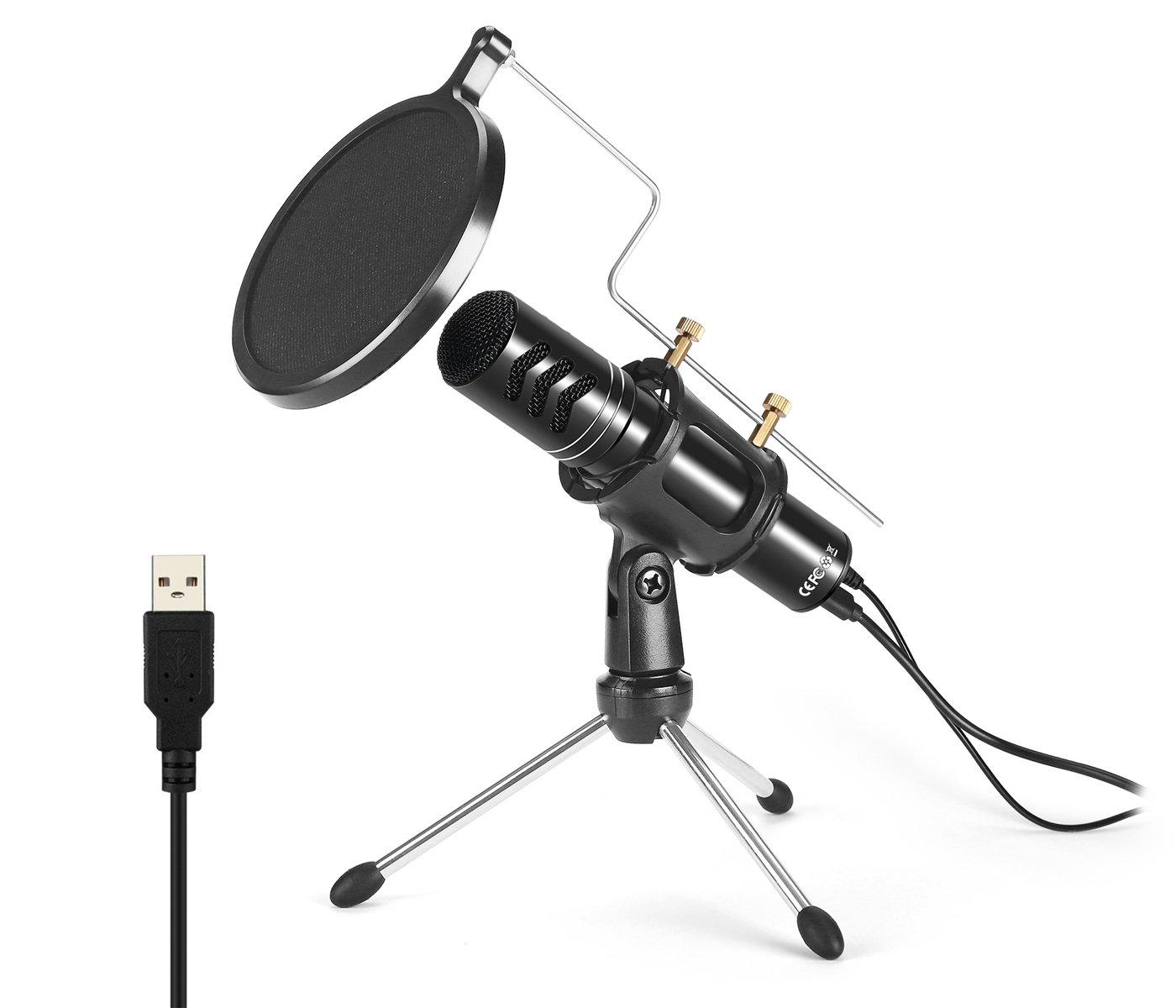 Aokeo USB Computer Condensador profesional Micrófono de estudio Plug & Play con trípode y filtro pop de doble capa para