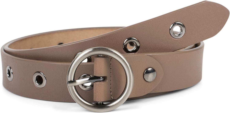 styleBREAKER cintur/ón de cuero de mujer con remaches huecos y superficie brillante acortable 0301010103 cuero aut/éntico
