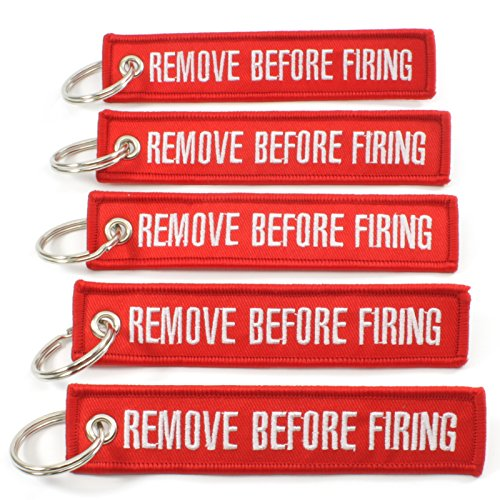 Rotary13B1 Remove Before Firing - Key Chains - Red/White - 5pcs Sale! (Pin Ar Bolt 15)