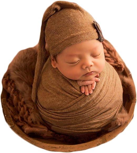 Newborn Baby Photo Blanket Photo Props Soft Fur Wrap Blanket w// Headwear