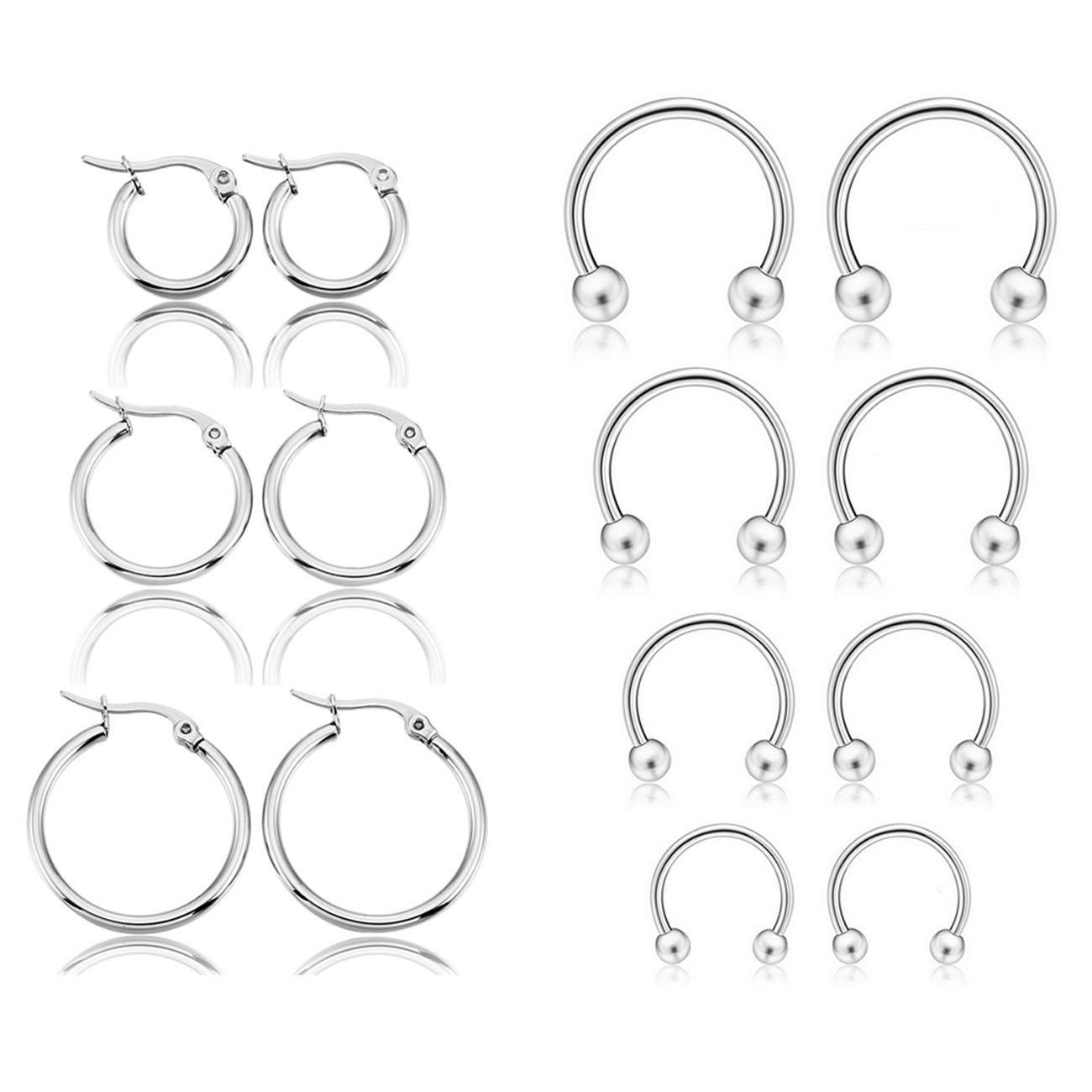 MOWOM 6~7 Pairs Stainless Steel Earrings Nose Piercing Eyebrow Septum Ring Hoop Tragus Cartilage Piercing ca5060260