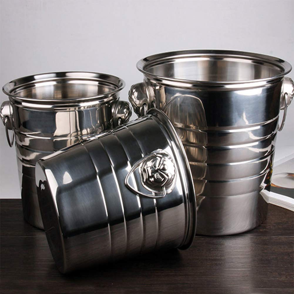 Favorts 3L//5L//7L High Quality Stainless Steel Ice Bucket Thick Ice Holder Container for Bar Party