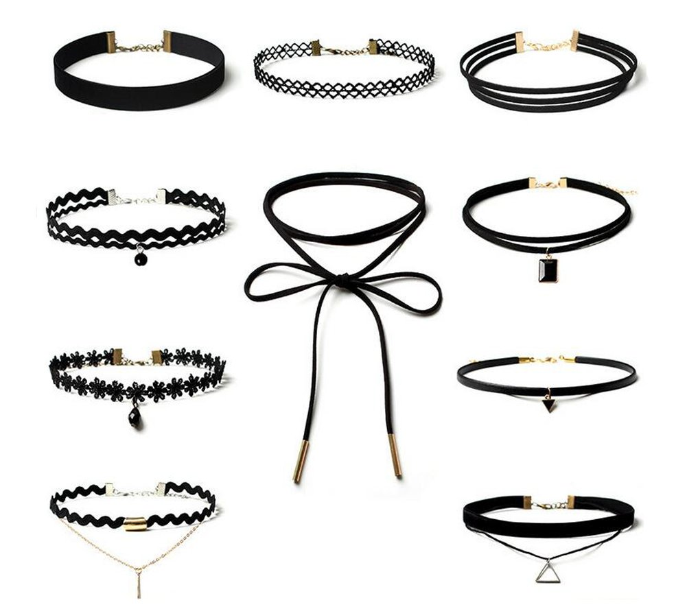10 Pieces Black Choker Necklaces Set Velvet Classic Gothic Tattoo Lace Choker Set Necklaces for Women and Girls erioctry