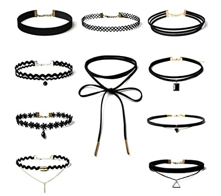 2cf300992bde3 10 Pieces Black Choker Necklaces Set Velvet Classic Gothic Tattoo Lace  Choker Set Necklaces for Women and Girls