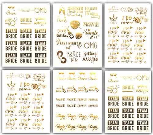 Bachelorettesy Team Bride Bachelorette Metallic Tattoos - Over 100 Temporary Tattoo Designs in Gold and Silver (6 Sheets), Joy Collection