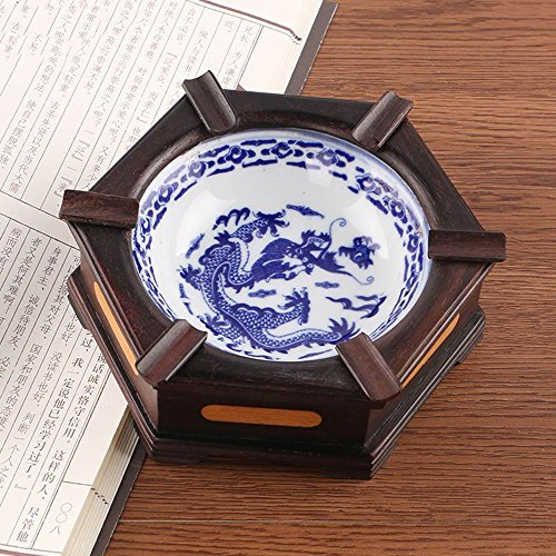 XUEXIN Wooden ceramic ashtray European creative fashion living room office ashtray men personalized gifts , size 17cm by XUEXIN