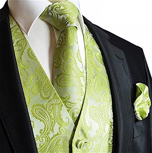 Men's 3pc Paisley Vest Set-Lime Green-XL ()