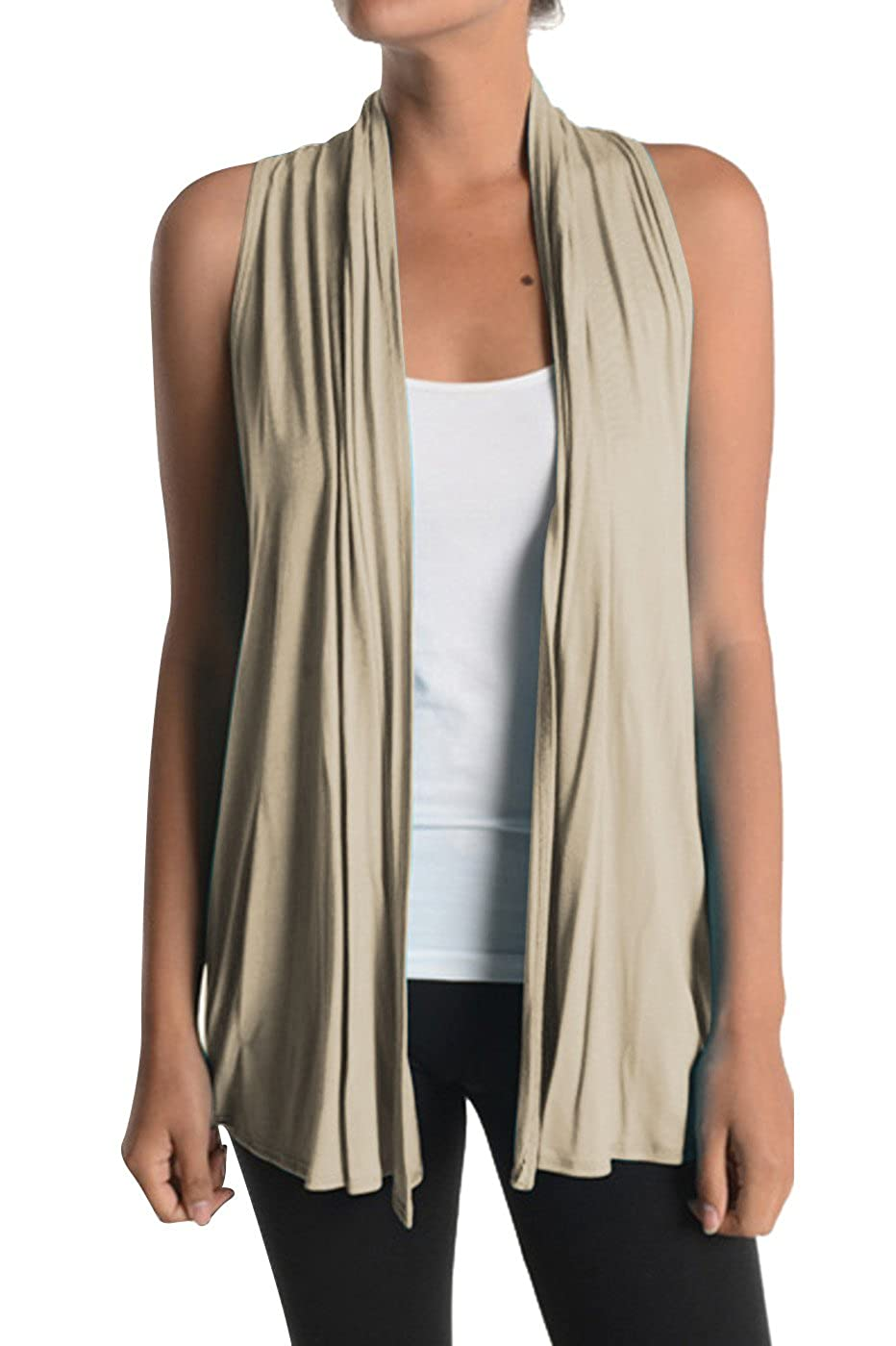 2LUV Women's Draped Open Front Racerback Jersey Knit Vest