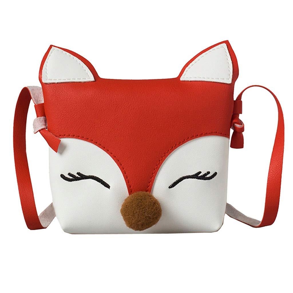 Lonshell Little Girls Retro Leather Handbag Fox Mini Crossbody Bag Packet Children Coin Purse Tote Shoulder Messenger Bag Kids Party Bag Pouch (Black)
