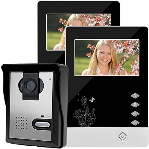 LIBO Wired Video Intercom Waterproof Video Doorbell Door Phone System Kit, 4.3 inch Monitor with IR Night Vision Camera, Two-Way Audio, for Family Apartment Access Control 2 Monitors 1 Camera