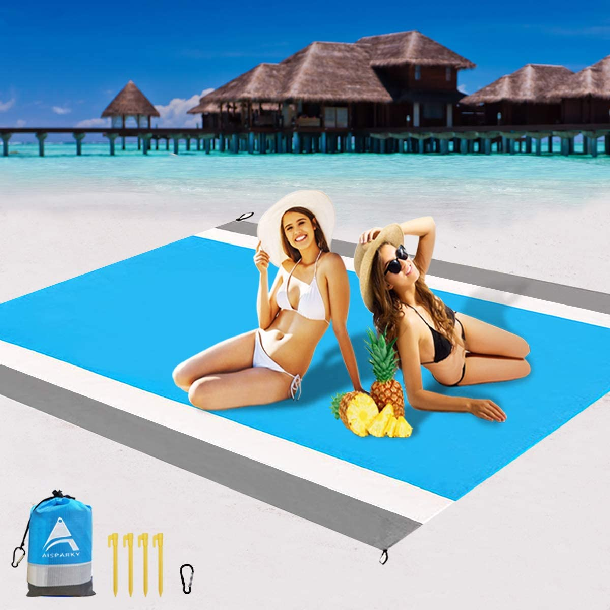 Beach Mat Outdoor Picnic Blanket Large Sand Free Compact for 4-7 Persons Water Proof and Drying Mats Nylon Pocket Picnic for Outdoor Travel AISPARKY Beach Blanket 78 X 81