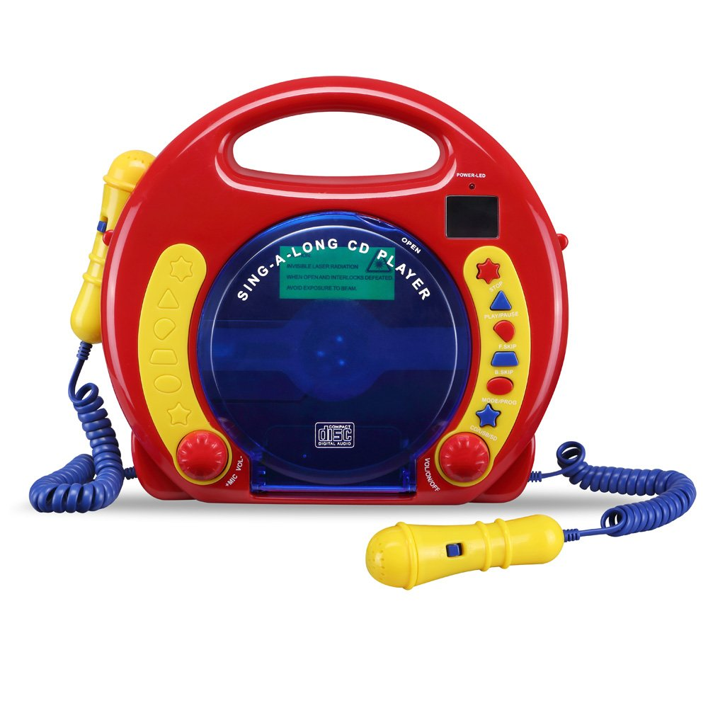 CD/USB/SD Portable Sing Along CD Player with 2 Microphones Anti Skip Protection LCD Display by O.Y.M (Image #3)