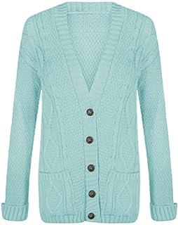df592dea92 Uptown Girl Women s Long Sleeve Button Top Ladies Chunky Aran Cable Knit  Grandad Cardigan