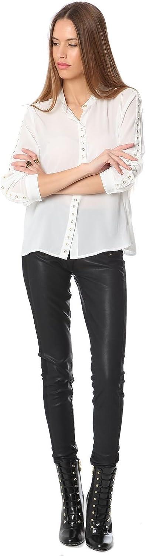 Q2 Mujer Camisa Blanca de Mao con Detalle de Ojales - XS ...
