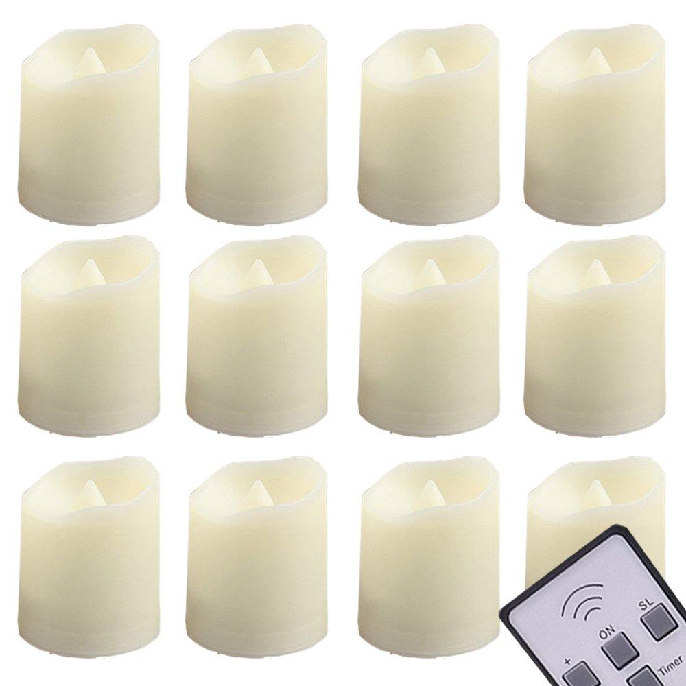 LED Tealightsキャンドルリモート制御タイマーティーライトちらつき – Flameless Votive candles- Include電池式200 +時間 – アウトドアウェディングデコレーション無香Amber Yellow Flame 6個 A819-12PCS-LED69-TIMER28 B01M0KXS3L 11416