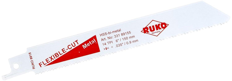 Hoja para sierra de sable 200 x 18 x 1,25 mm, 6-10 dientes por pulgada, 5 unidades Ruko 33189445