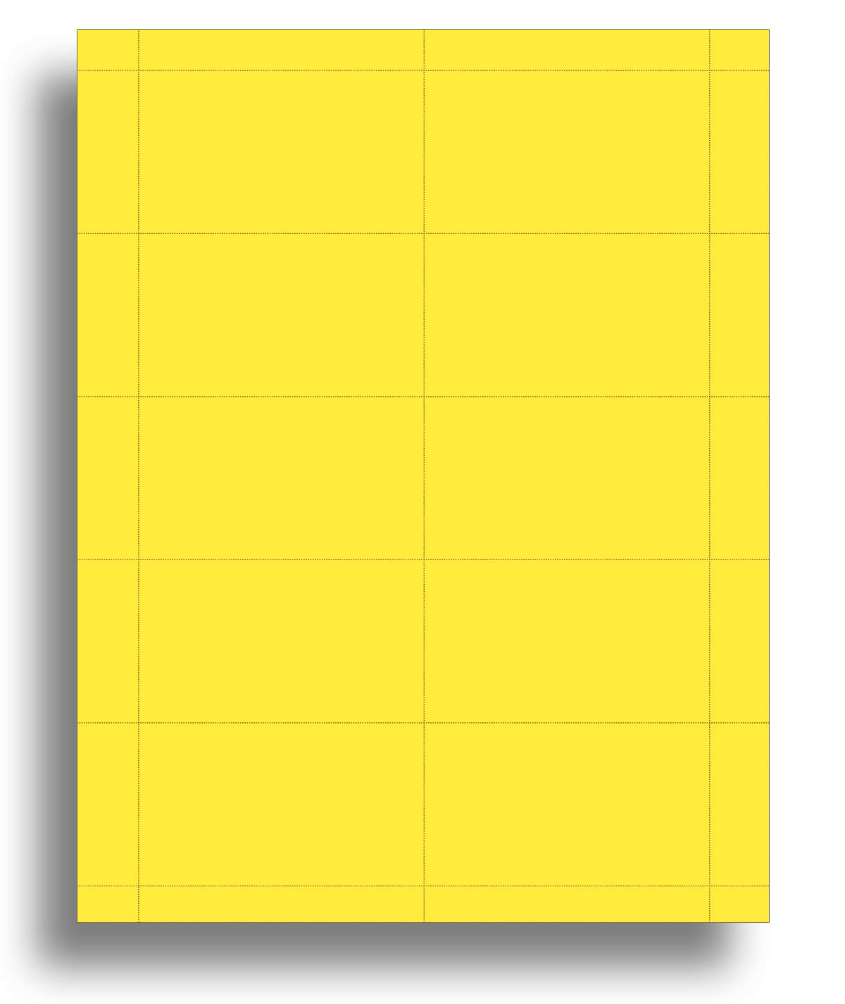 Colored Business Cards - 25 Sheets / 250 Business Cards - Inkjet & Laser - 10 per sheet (Bright Yellow)