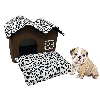 LA VIE Casa Adorable para Mascotas Plegable Extraíble con Tejado Doble Caseta de Perro Cama Nido