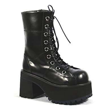17d4e06635 Summitfashions Platform Ankle Boots Black Lace Up Boots 3 1/2 Inch Chunky Heel  Gothic