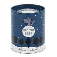 Derrière La Porte DLP : Tirelire - Mon Petit Loup - en Métal Bleu pour Enfant Garçon