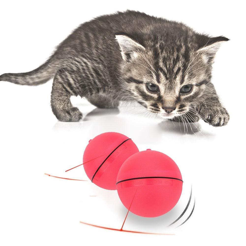 Pawaca Jarrón de Juguete Interactivo para Gatos de 360 Grados, Bola giratoria automática, Herramienta de Entrenamiento de Entretenimiento para Gatos, Gatitos, Cachorros y Perros