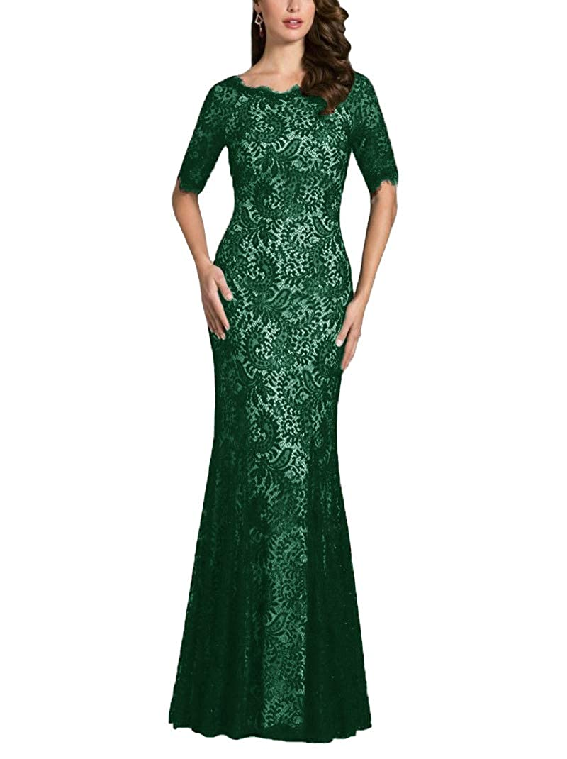 Emerald Green JINGDRESS Lace Mother of The Bride Dresses Half Sleeve Mermaid Maxi Wedding Party Dresses Evening Formal Gowns